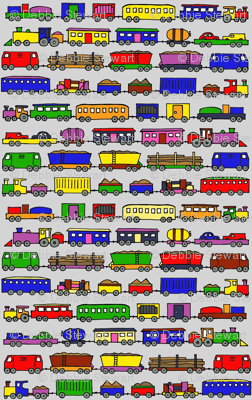 trains coloured in large