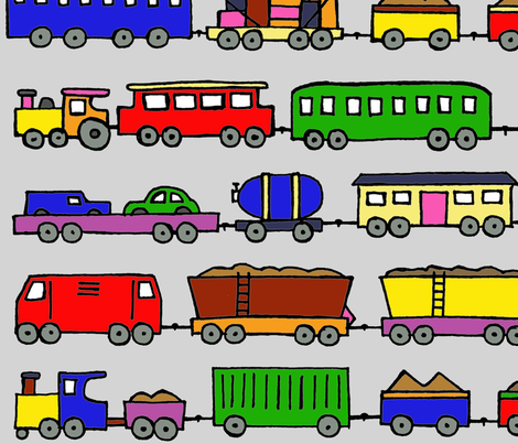 trains coloured in large fabric by littlemissquarter on Spoonflower - custom fabric