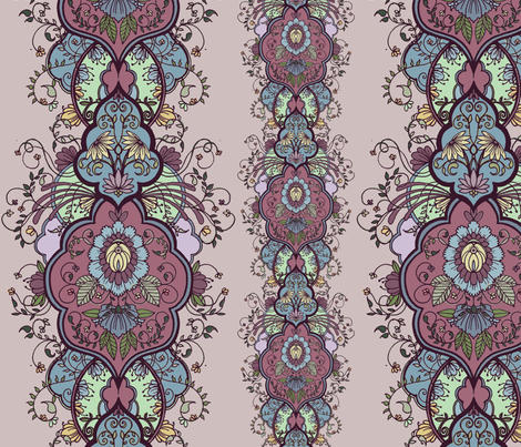 purple floral arabesque fabric by michelleadoran on Spoonflower - custom fabric