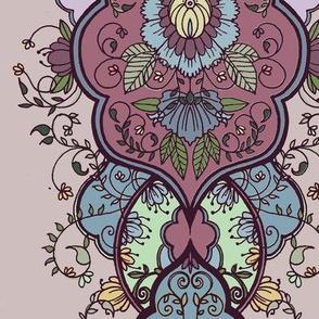 purple floral arabesque