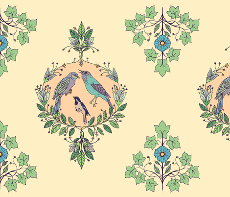 bird damask fabric by michelleadoran on Spoonflower - custom fabric