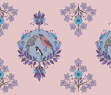 bird damask purple fabric by michelleadoran on Spoonflower - custom fabric