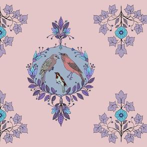 bird damask purple