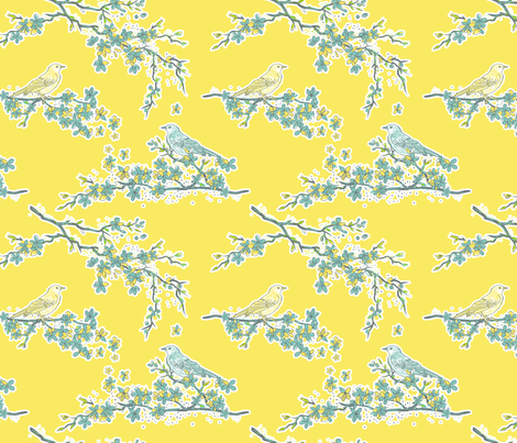 Blossoms & Song Birds  fabric by diane555 on Spoonflower - custom fabric