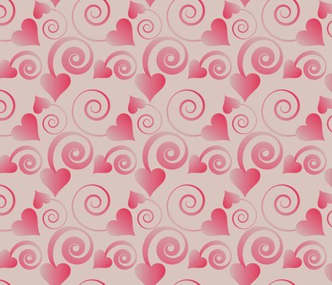 hearts and ribbons pale fabric by kociara on Spoonflower - custom fabric