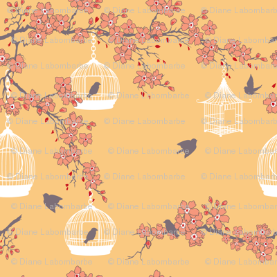 Cherry Blossoms and Bird Cages