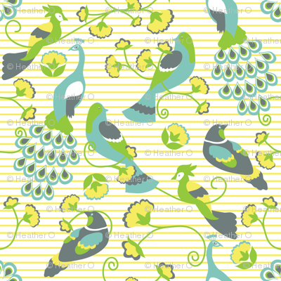 jacobean birds yellow background