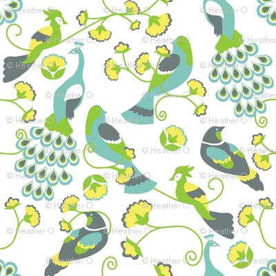 jacobean birds white background