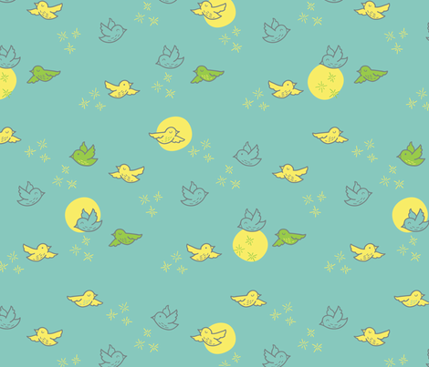 Flight of the Chickadee fabric by auki on Spoonflower - custom fabric
