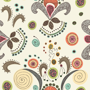 Wired Flower Pattern, Large Print