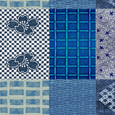 Asian Cheater Quilt - indigo/denim blues fabric by materialsgirl on Spoonflower - custom fabric