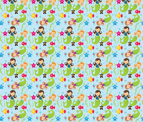 Mermaids under the sea fabric by karigari on Spoonflower - custom fabric