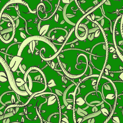 Deep in the Jungle - Deep Green fabric by miraculousmosquito on Spoonflower - custom fabric
