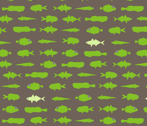 Green Fish Funk fabric by smuk on Spoonflower - custom fabric