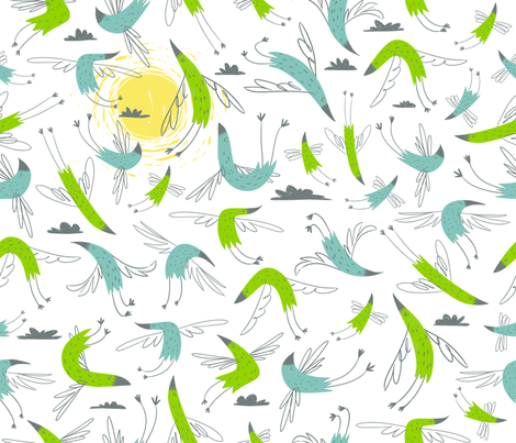 happy birds fabric by azbeen on Spoonflower - custom fabric