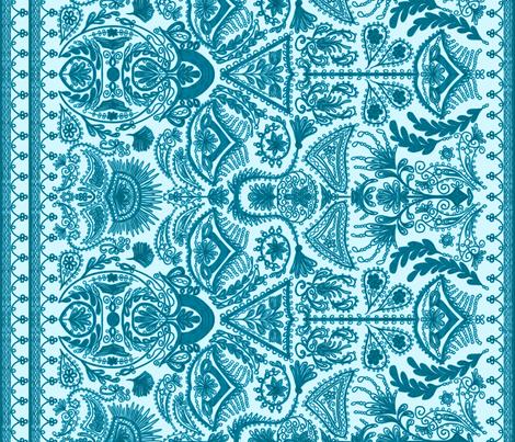 1900s Blue Embroidery fabric by ninniku on Spoonflower - custom fabric
