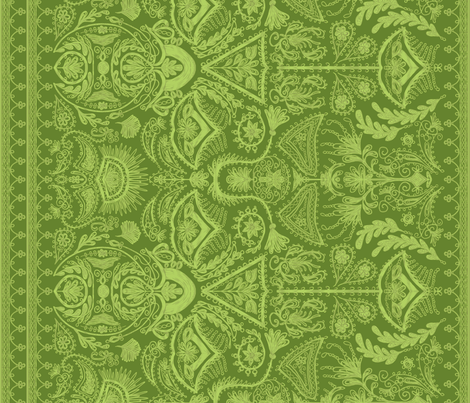 1900s Green Embroidery fabric by ninniku on Spoonflower - custom fabric