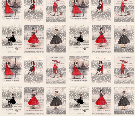 Paris Black & Red Vintage Ladies fabric by castleonthehill on Spoonflower - custom fabric