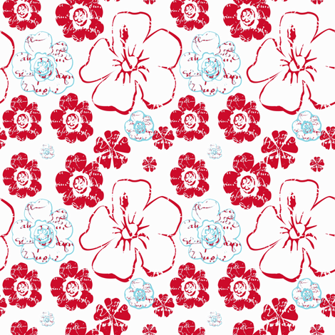 French Script Bouquet, red white and aqua fabric by karenharveycox on Spoonflower - custom fabric