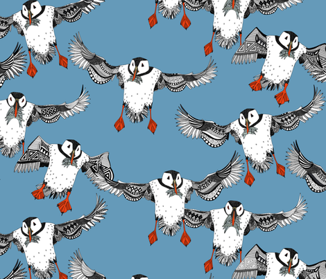 Atlantic Puffins blue fabric by scrummy on Spoonflower - custom fabric