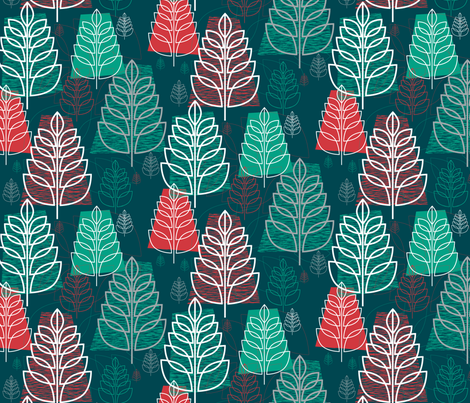 Christmas Forest (Fir) || holiday tree trees midcentury modern fabric by pennycandy on Spoonflower - custom fabric