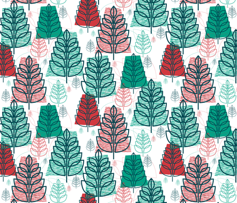 Christmas Forest (Snow) || holiday tree trees midcentury modern snow fabric by pennycandy on Spoonflower - custom fabric