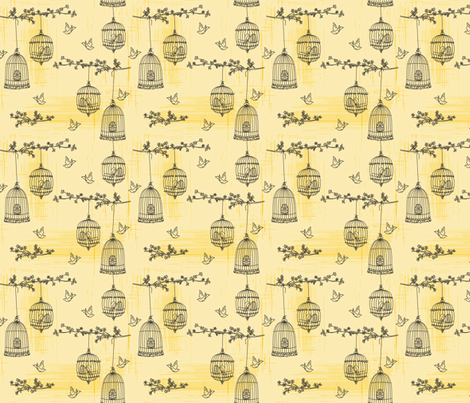 Bird &  Birdcage  fabric by diane555 on Spoonflower - custom fabric