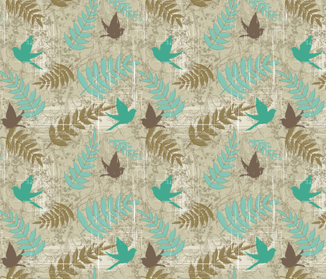Brown and Teal Bird Design fabric by diane555 on Spoonflower - custom fabric