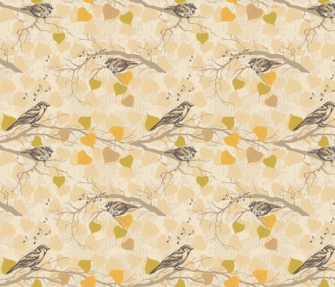 Autumn Sparrows fabric by diane555 on Spoonflower - custom fabric