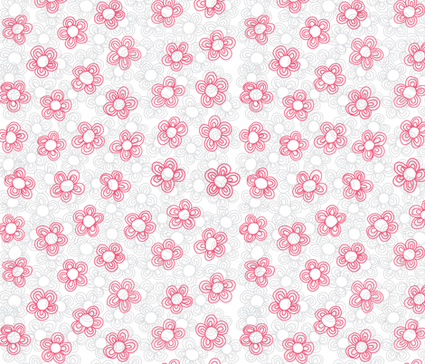 Wee Flowers, Coral fabric by janet_antepara on Spoonflower - custom fabric