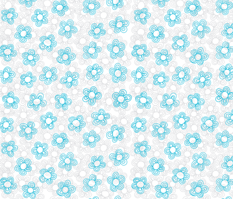 Wee Flowers, Turquoise fabric by janet_antepara on Spoonflower - custom fabric