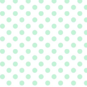 polka dots ice mint green