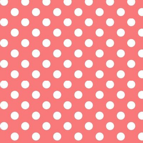 Coral polka dots fabric wallpaper gift wrap spoonflower polka dots 2 coral voltagebd Images