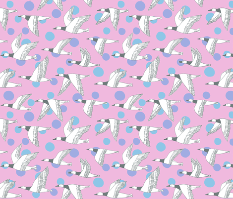 migratory birds - grey, pale pink, lavender, sky blue fabric by gingerme on Spoonflower - custom fabric