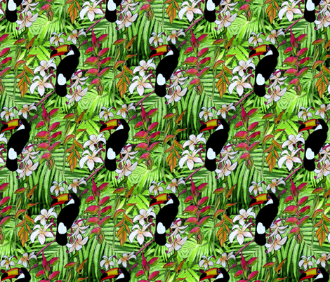 Toucan_in_the_forest fabric by art_on_fabric on Spoonflower - custom fabric