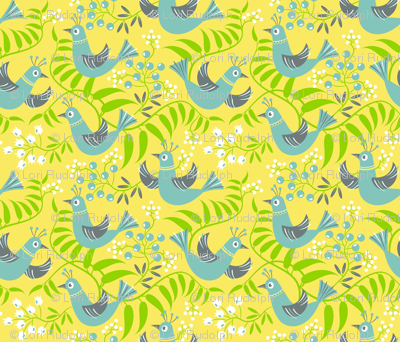 Birds, Berries and Blooms ~ on yellow (option no. 2)