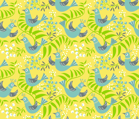 Birds, Berries and Blooms ~ on yellow (option no. 2) fabric by retrorudolphs on Spoonflower - custom fabric