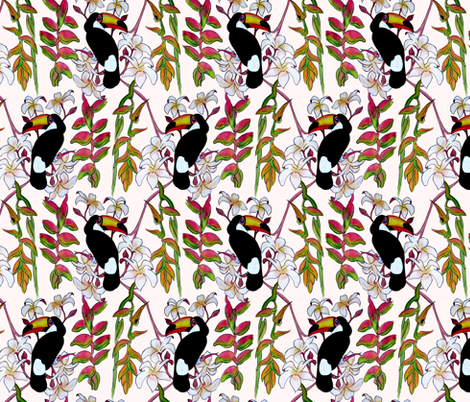 Toucans_in_the_Pink. fabric by house_of_heasman on Spoonflower - custom fabric