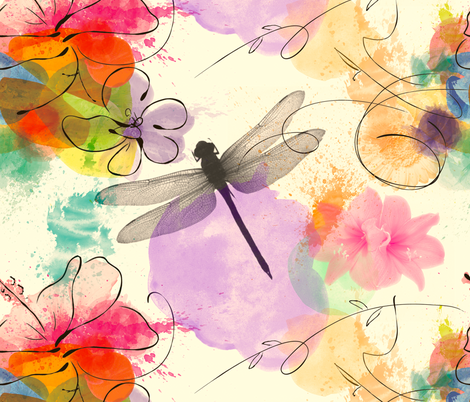 Dragonfly Watercolour fabric by olivia_henry on Spoonflower - custom fabric