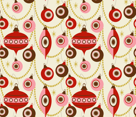 Christmas Swag ~ peppermint and bark fabric by retrorudolphs on Spoonflower - custom fabric