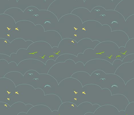 flying high - gray fabric by ravynka on Spoonflower - custom fabric