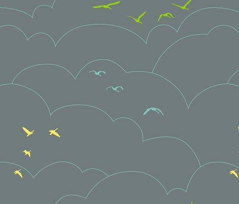flying high - gray fabric by ravynka on Spoonflower - custom fabric