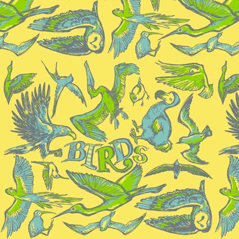 Birds fabric by loeff on Spoonflower - custom fabric