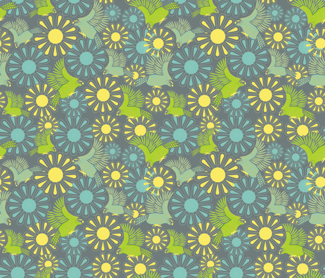 Kakapos amongst the flowers fabric by madex on Spoonflower - custom fabric