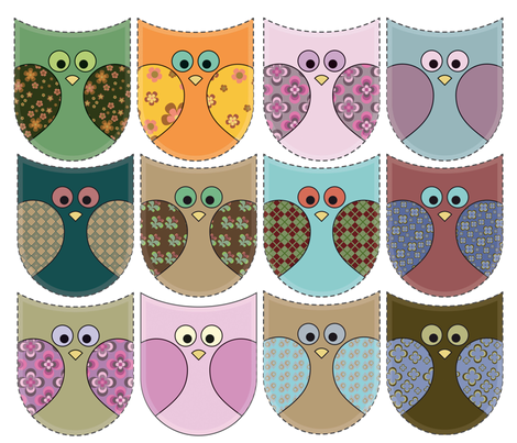 Retro owl fronts fabric by snigne on Spoonflower - custom fabric
