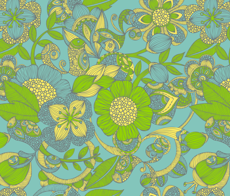 Between Flowers fabric by valentinaharper on Spoonflower - custom fabric