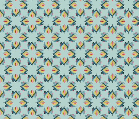 Gold Deco Flower - Pale Green fabric by gail_mcneillie on Spoonflower - custom fabric
