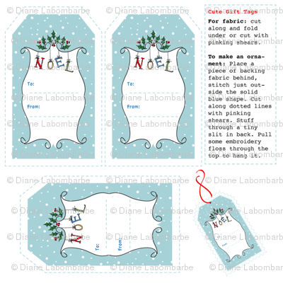 Cute Whimsical Christmas Gift Tags or Labels