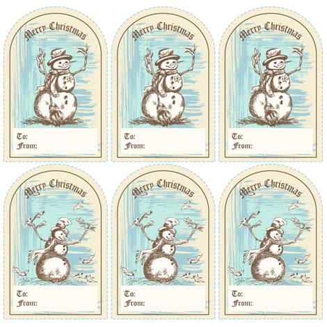 Winter Fun  - Old Fashioned Snowman Christmas Gift Tags fabric by diane555 on Spoonflower - custom fabric