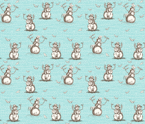 Winter Fun Snowman fabric by diane555 on Spoonflower - custom fabric